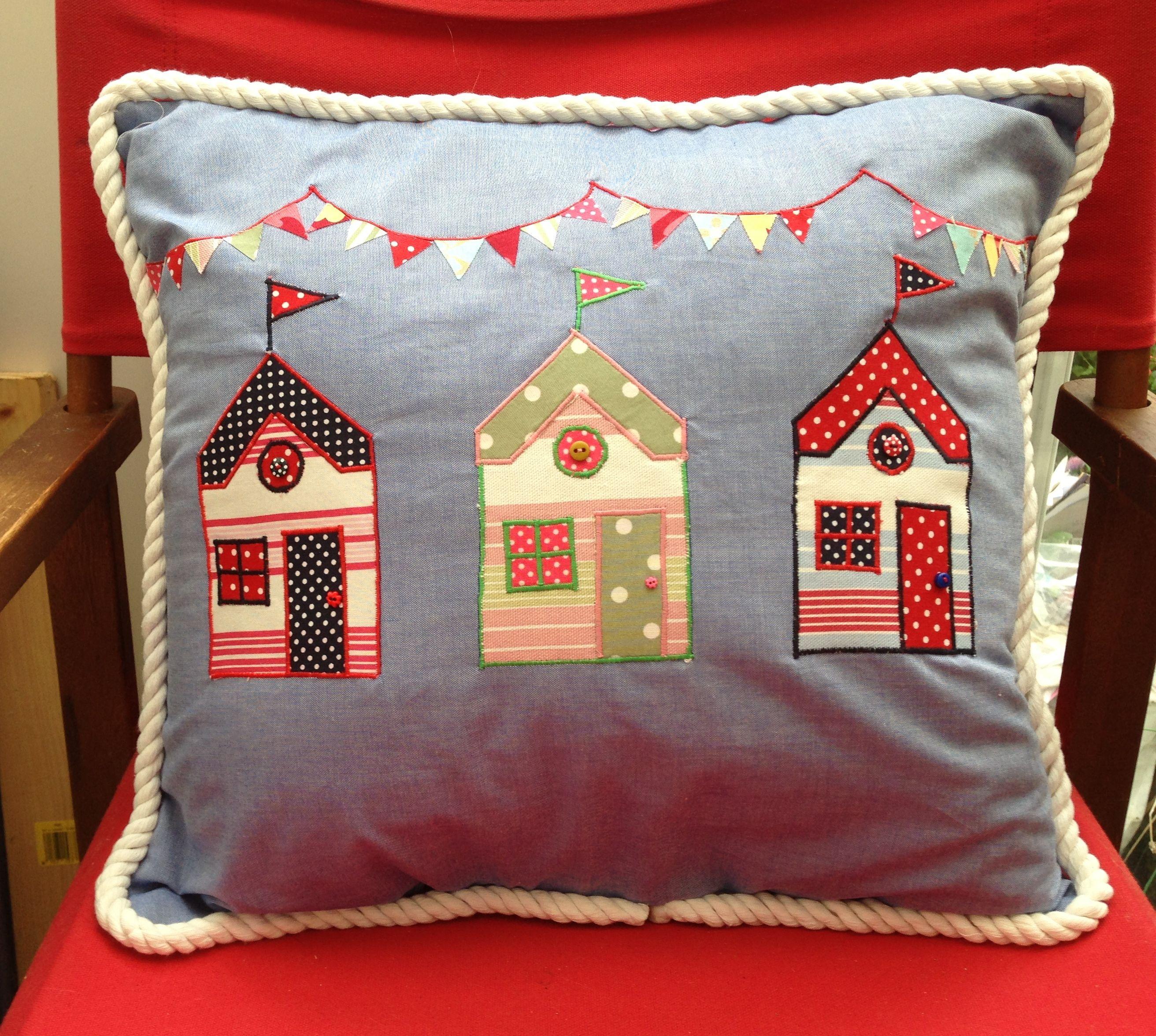 Beach Hut Machine Embroidery Design: Beach Hut Applique Cushion