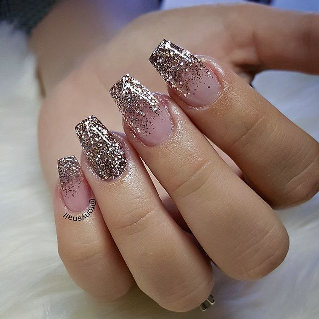 Rose Gold Glitter When People See My Nails Design They Know Where They Come From Gold Glitter Nails Ombre Nails Glitter Coffin Nails Designs