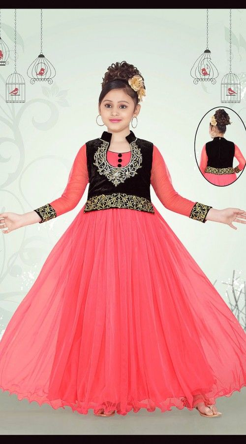 04bd265f23 Magnificent Pink Net Short Koti Style Designer Kids Gown DT53244 Your child  looks pretty in this pink net kids long gown. Best gown to wear at a wedding  ...