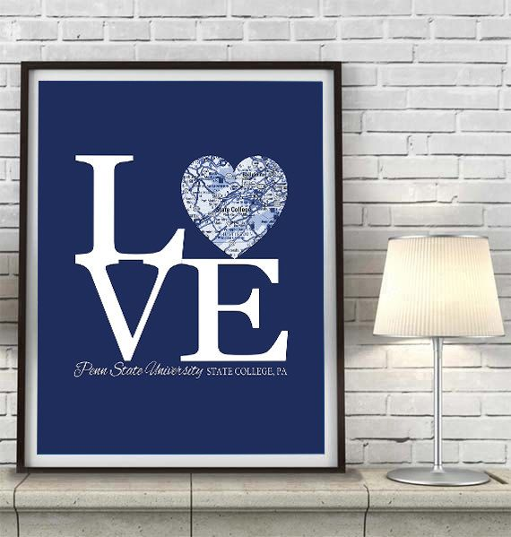 LOVE Penn State University State College Vintage Heat Map ART PRINT ...