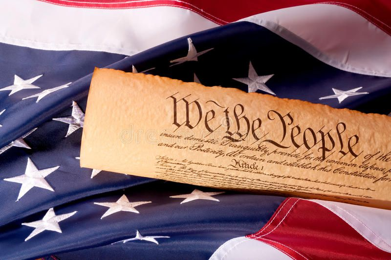 US Constitution  We The People with USA Flag Old fashionet American Constituti