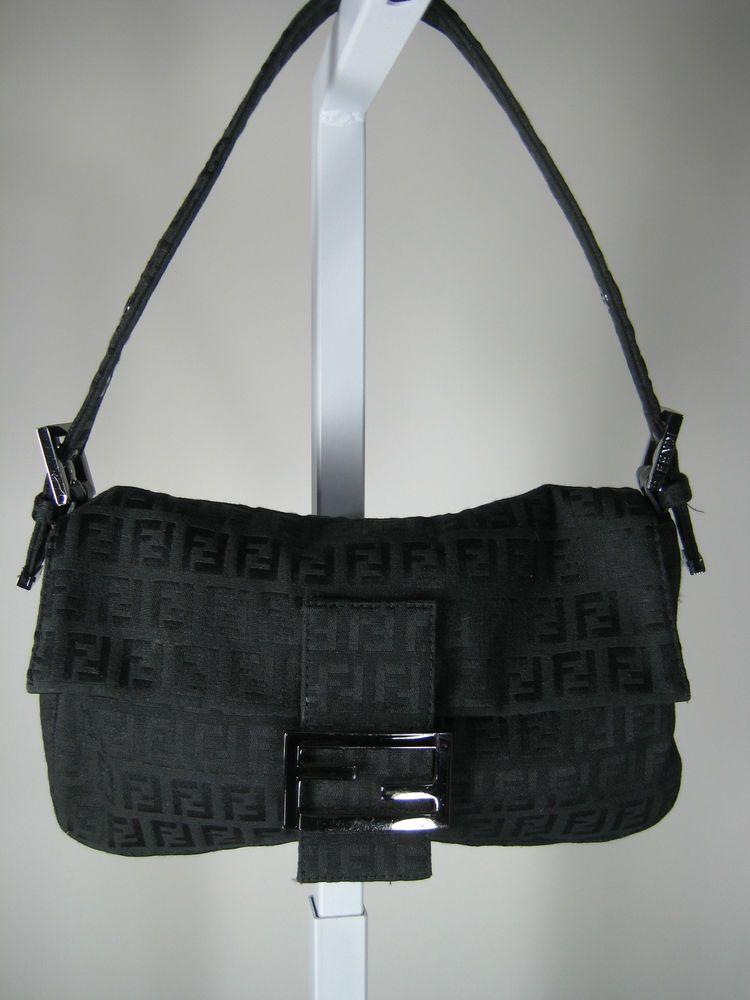 AUTHENTIC FENDI Black Canvas Small Baguette Handbag Purse #Fendi #Baguette