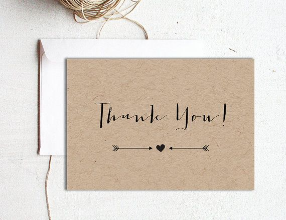 Printable wedding thank you card template, Editable text and color