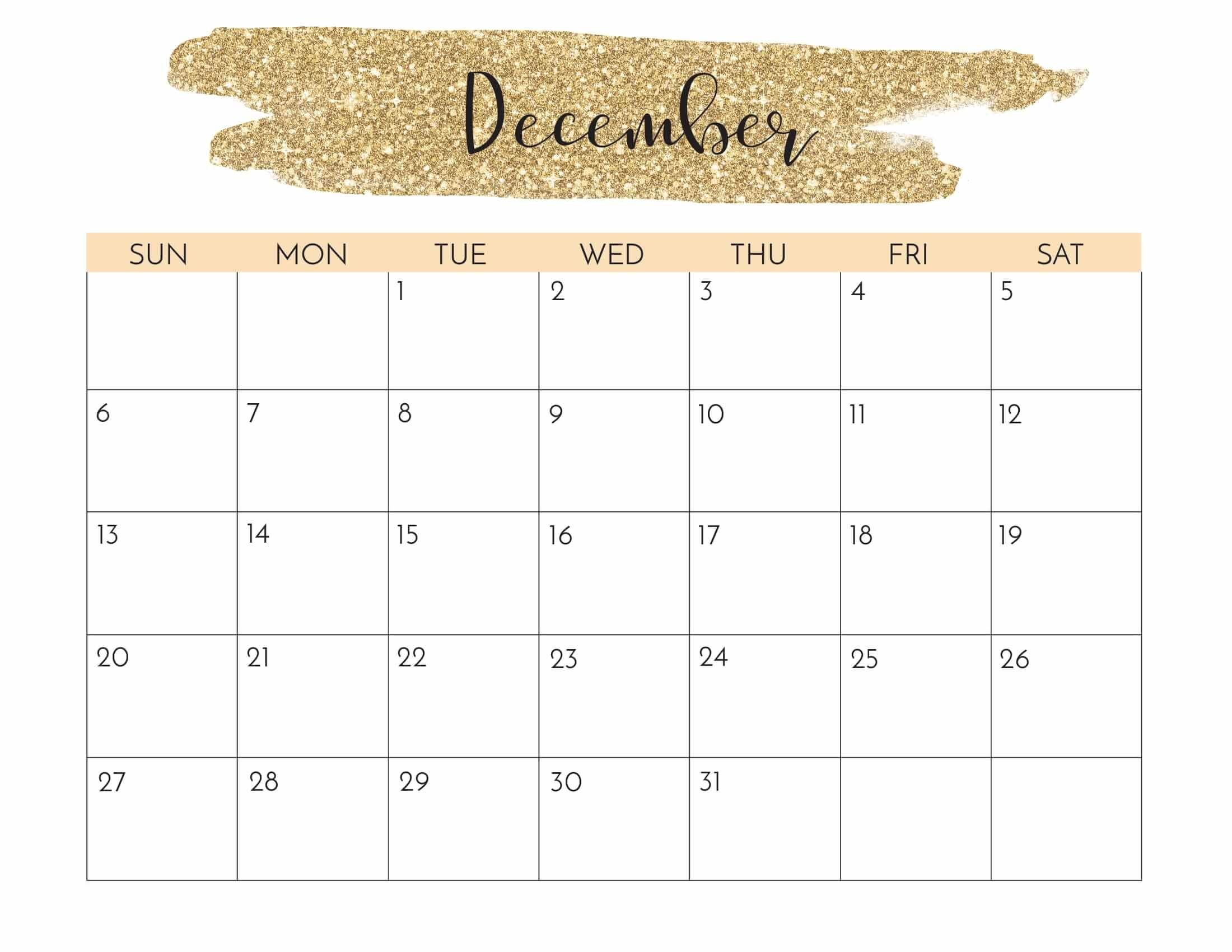 Wall Calendar December In