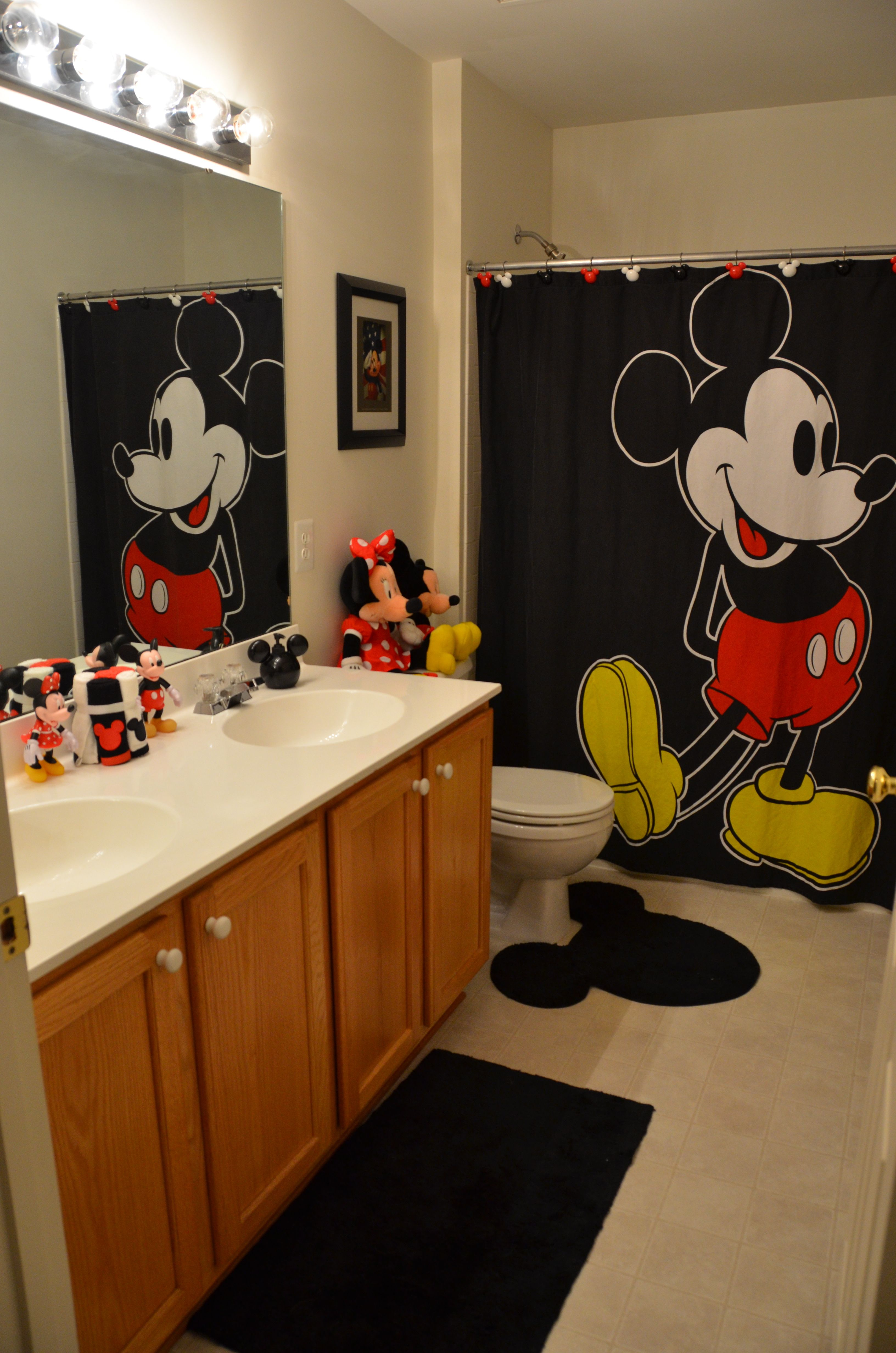 Love The Rug And Curtain May Be A Bad Idea To Have Stuffed Animals In The Bathroom Though Disney Room Decor Mickey Bathroom Disney Home Decor