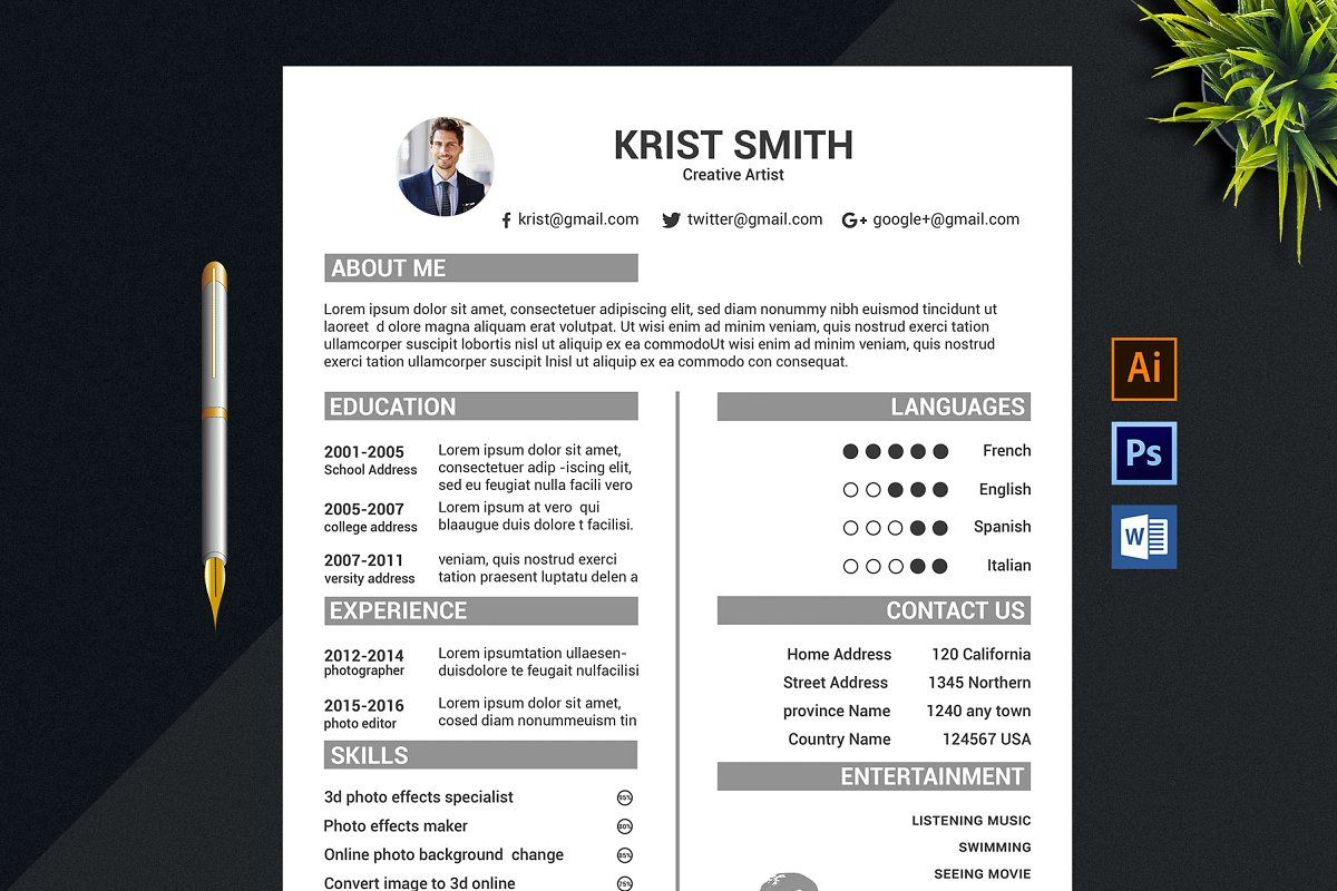 Professional Cv Resume in 2020 Resume microsoft word