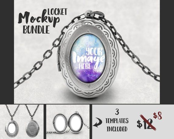 Silver Oval Locket Pendant Mockup Template | Jewelry