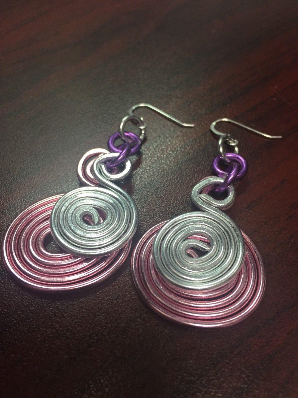 Pink, Silver And Purple Round Earrings, Swirl Earrings, Wire Earrings, Aluminum  Wire Earrings, Light Weight Earrings