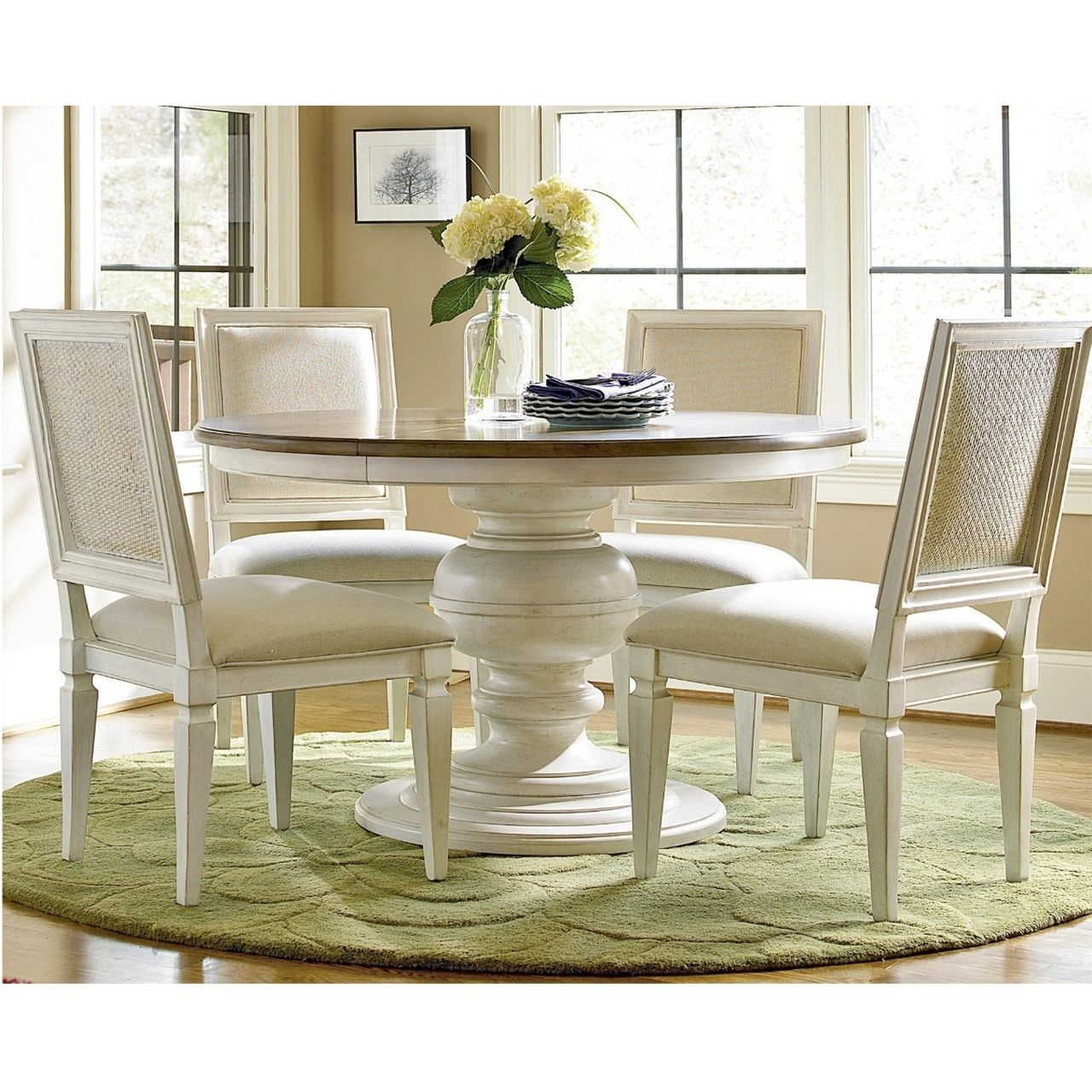 Country-Chic 5 Piece Round White Dining Room Set in 2020 ...