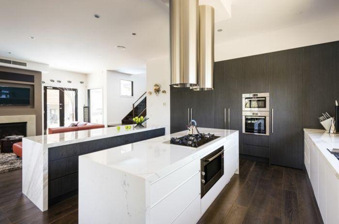 Wände Streichen Ideen Küche Graue Akzentwand Weiße Küchenmöbel