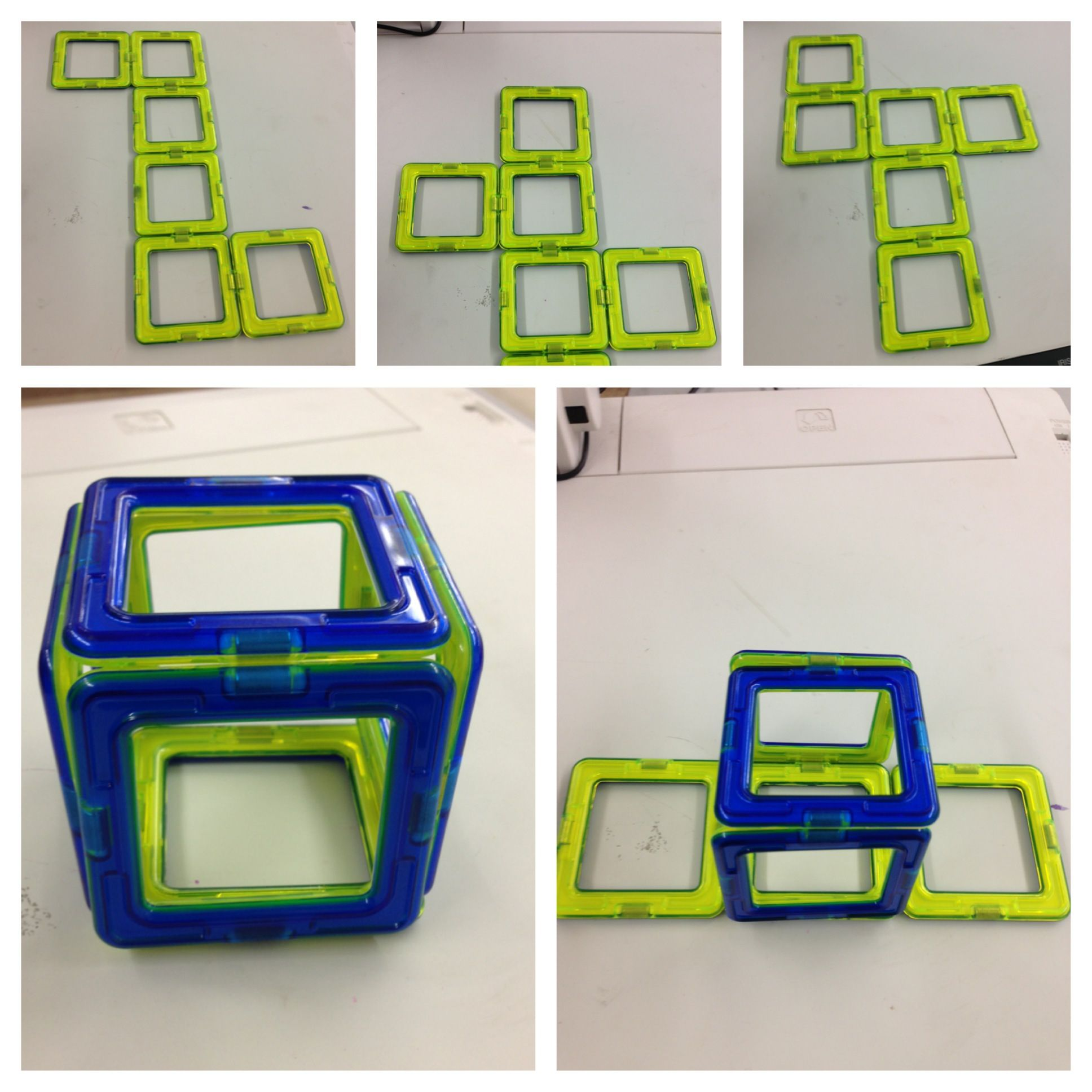 Surface Area Of Cubes Using Nets Magnetic Squares Folded
