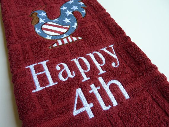 Embroidered Kitchen Dish Towel 4th Of July By