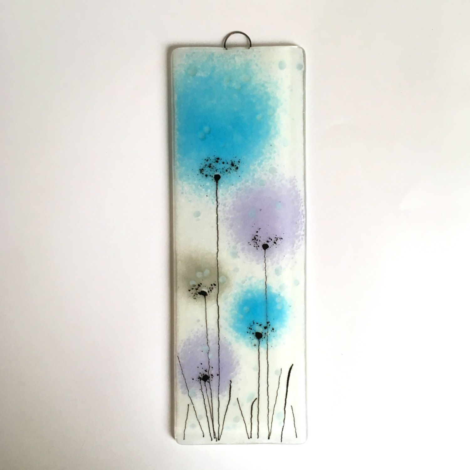 Turquoise flower wall art fused glass wall art fused glass