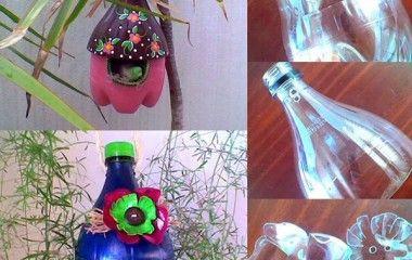 Plastic bottles became wonderful bird houses