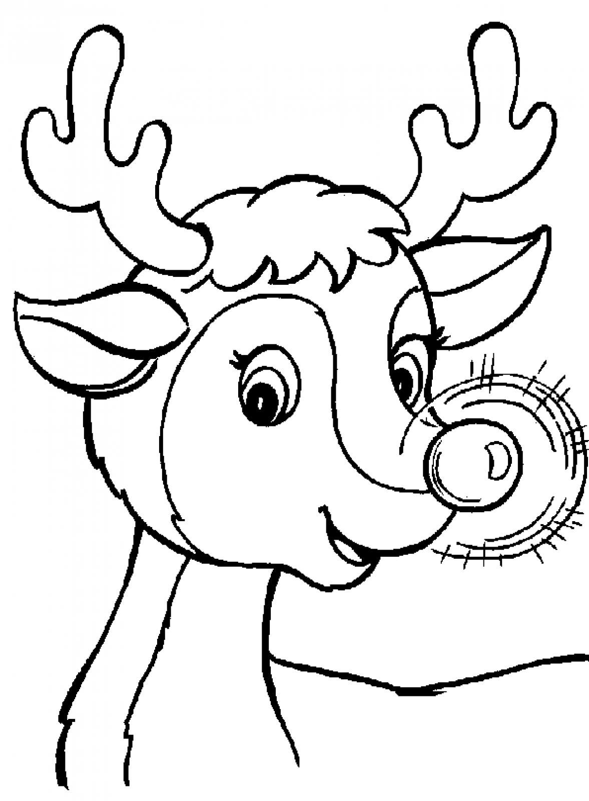 Christmas Rudolf The Reindeer Printable Coloring Pages