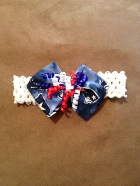 f5a145398c20e NFL New England Patriots Headband Hair Bow Baby by hollieshobbies1