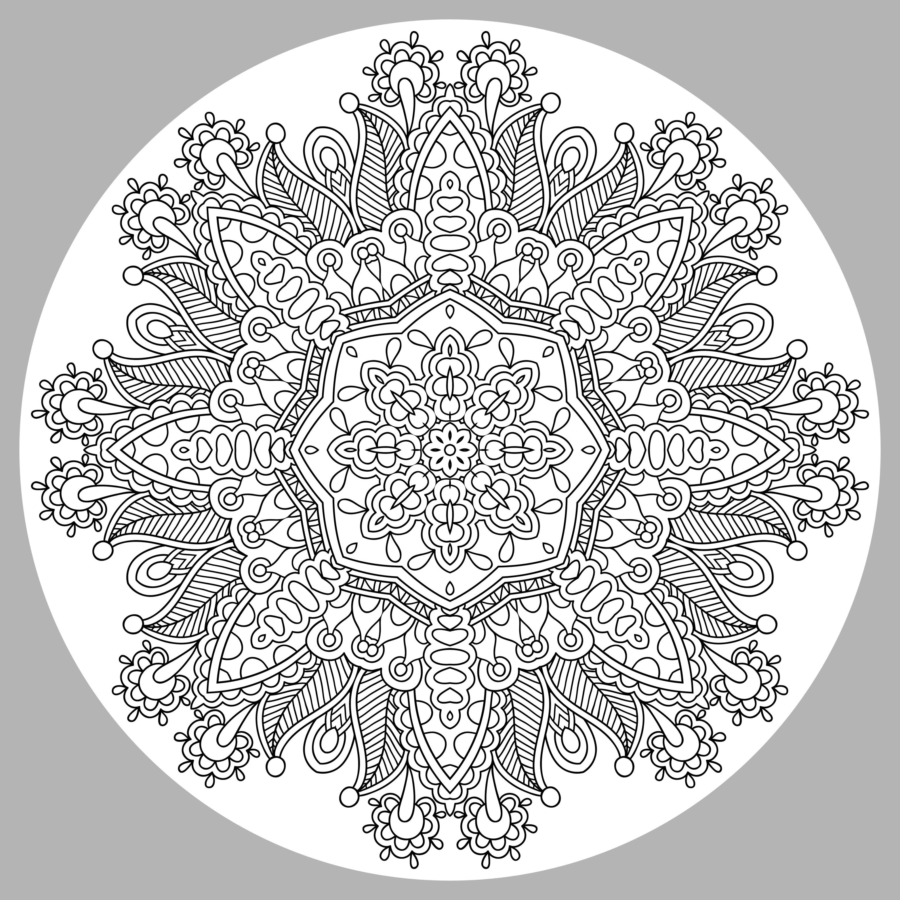 Cool Mandala With Grey Background Very Difficult Mandalas For