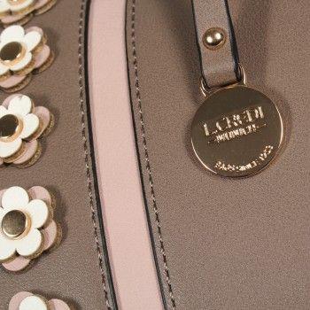 469fc3573b230 L. CREDI Damen Handtasche Agnes Taupe (grau beige)