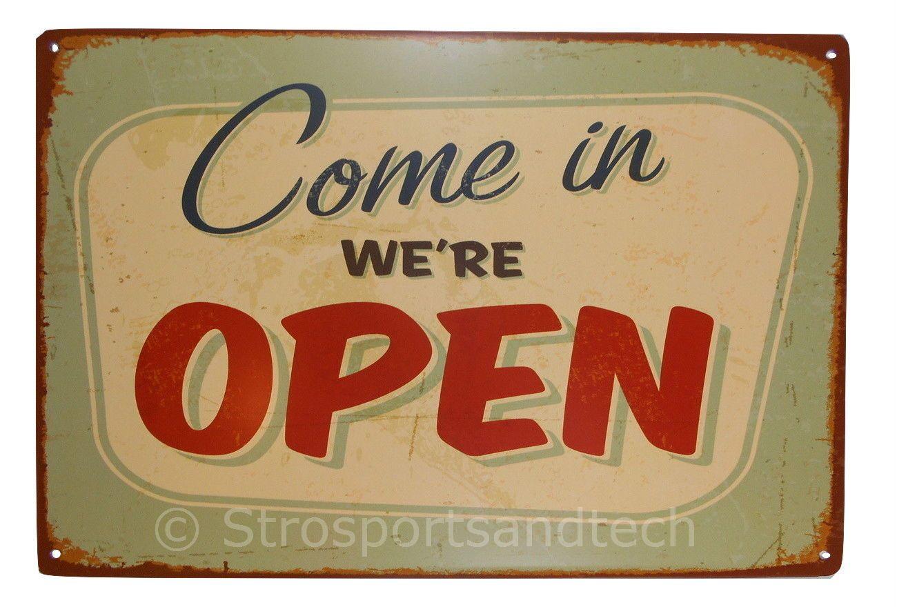 Open tin sign bar cafe diner garage pub wall decor retro metal
