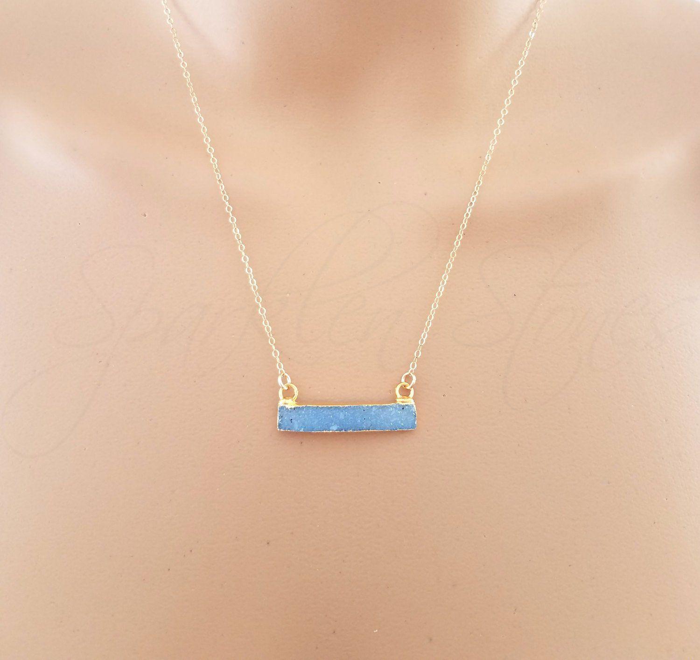 White bar Druzy sterling silver crystal necklace Horizontal Druzy Gemstones Layering necklace Everyday Dressy trendy silver jewelry