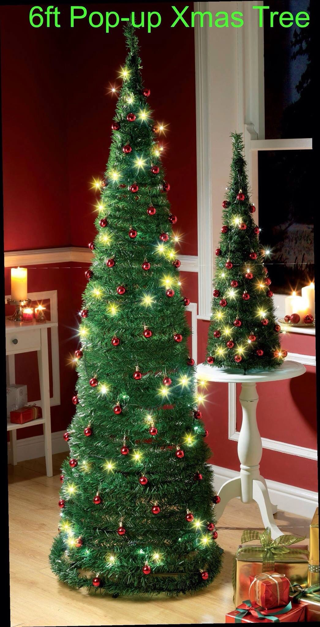 easy to put up and with no additional decorations to buy this beautiful 6ft green pop up christmas tree includes 60 red baubles and is lit by 60 led