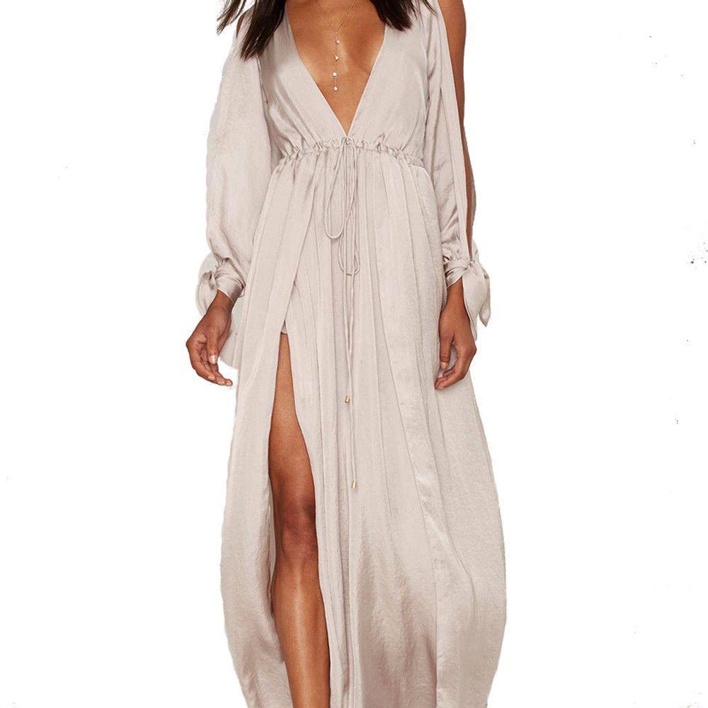 Apricot cold shoulder long sleeve plunge maxi dress clothesline