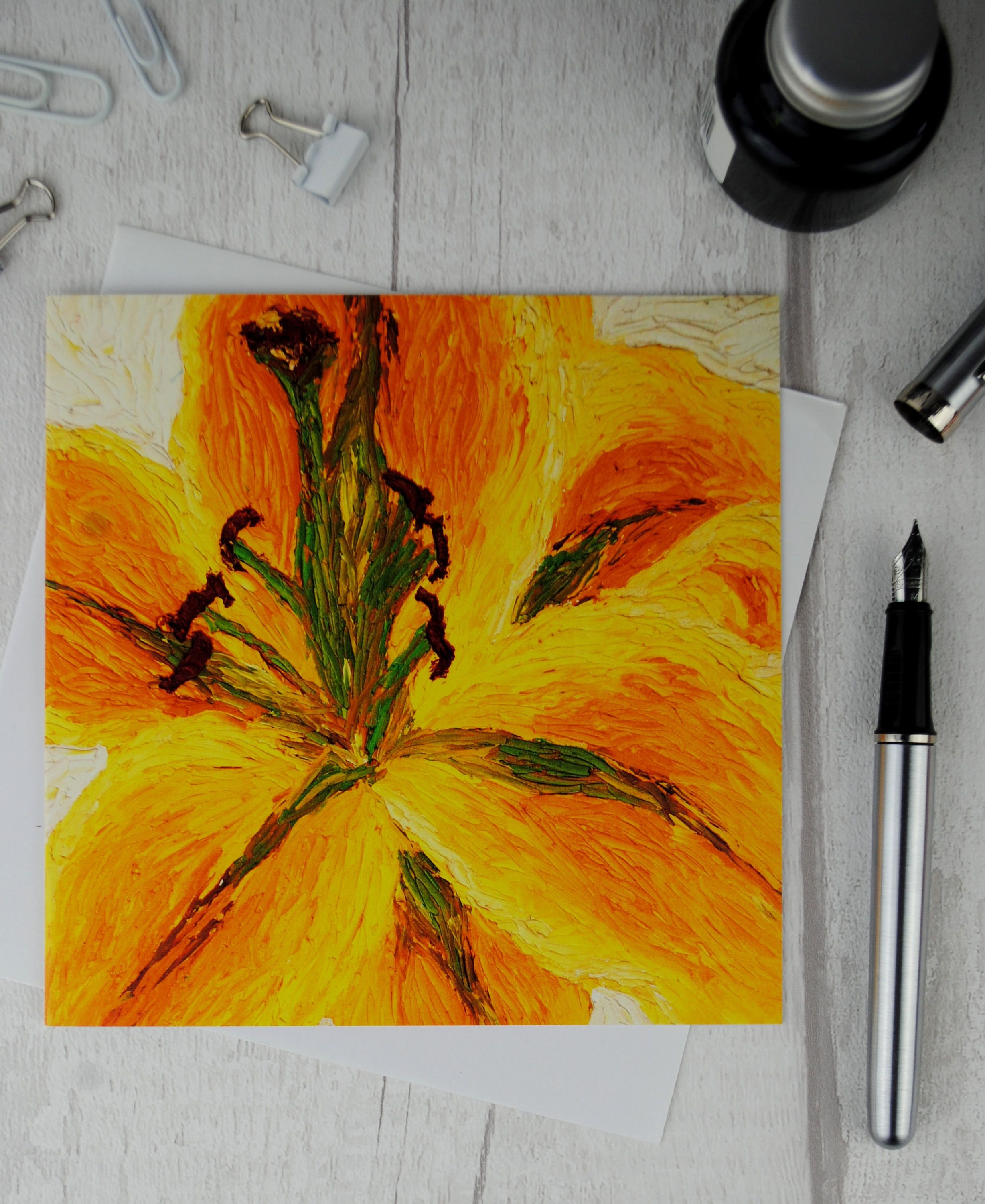 Yellow Lily Greeting Card Flower Blank Christi Greeting Cards