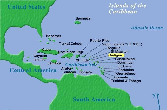 Map Of The Caribbean Showing Antigua Location Tuchman Beaches - Us map with world map in the corner