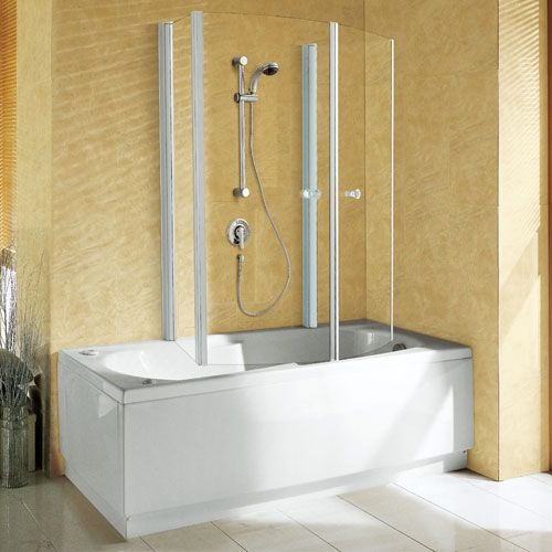 Aurora 4 Novellini.Novellini Aurora 4 Luxury Two Folding Over Bath Screen 700