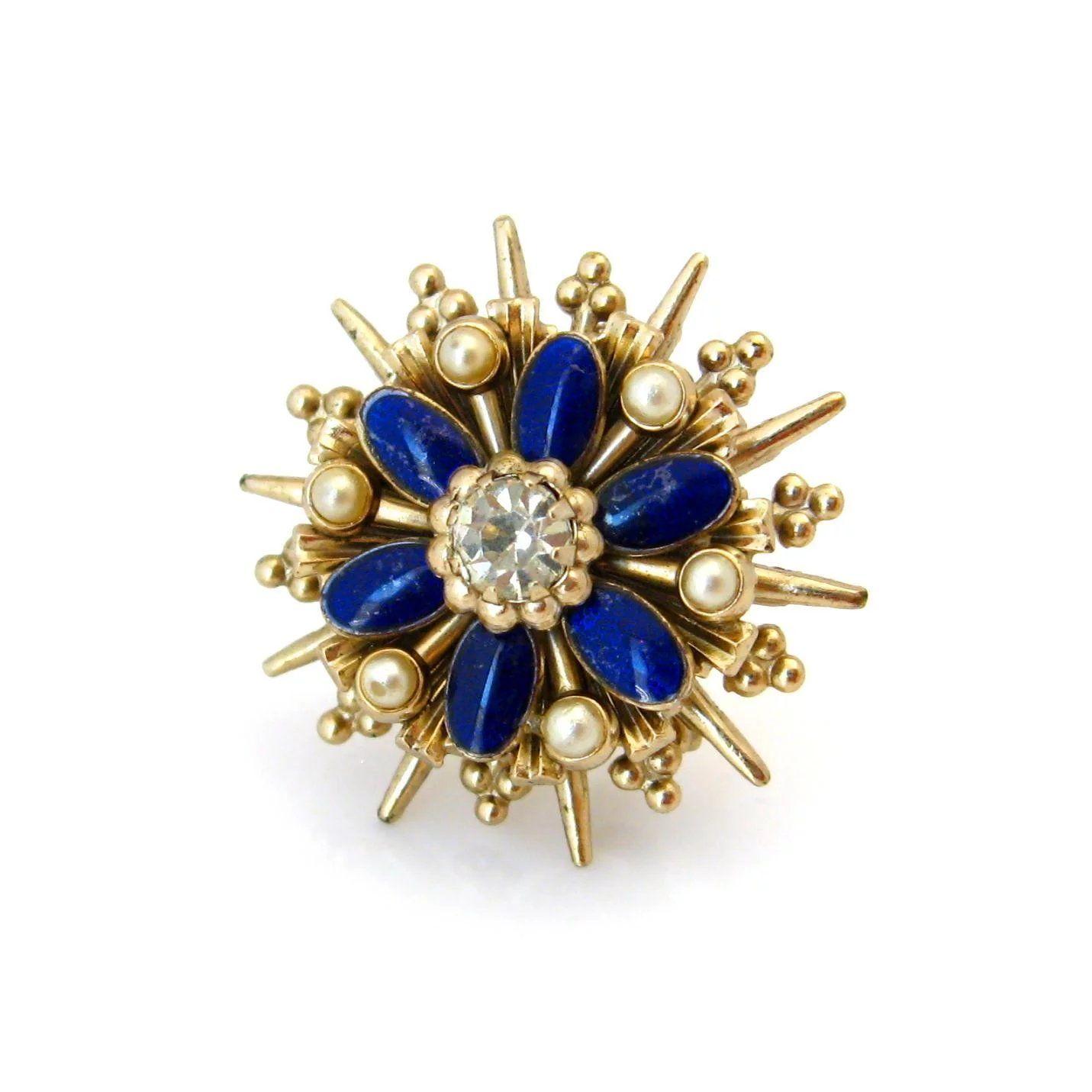 Gold Tone Faux Pearl Rhinestone  Brooch Pin Drop Pearl Gold Vintage Costume Fashion Jewelry Designer Shawl Scarf Pin Bridal Red Blue Green
