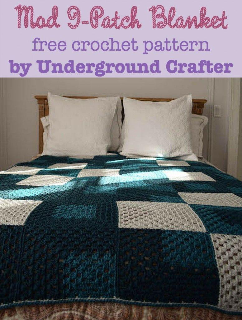 Crochet Pattern: Mod 9-Patch Blanket by   crochet   Pinterest