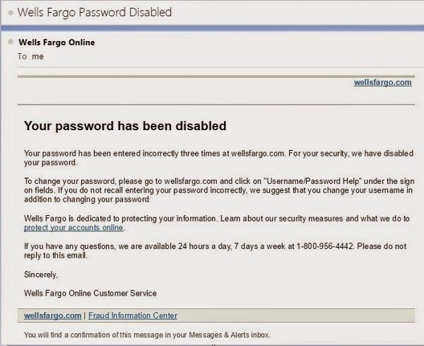 Wells Fargo alerted me to an account locked due to repeated