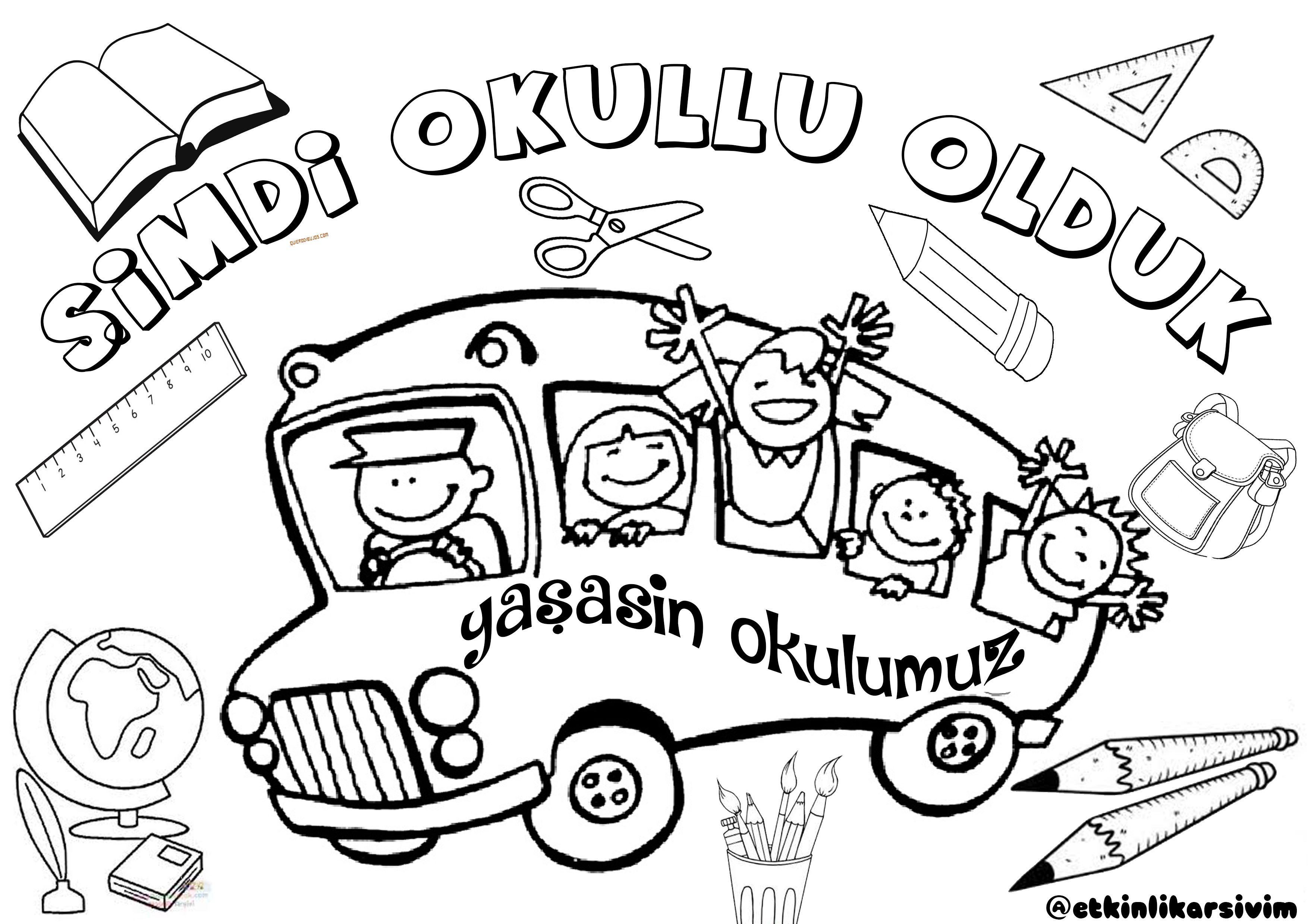 Ilk Ogretim Haftasi Boyama Okul Okul Oncesi Fikirleri Ve Okul