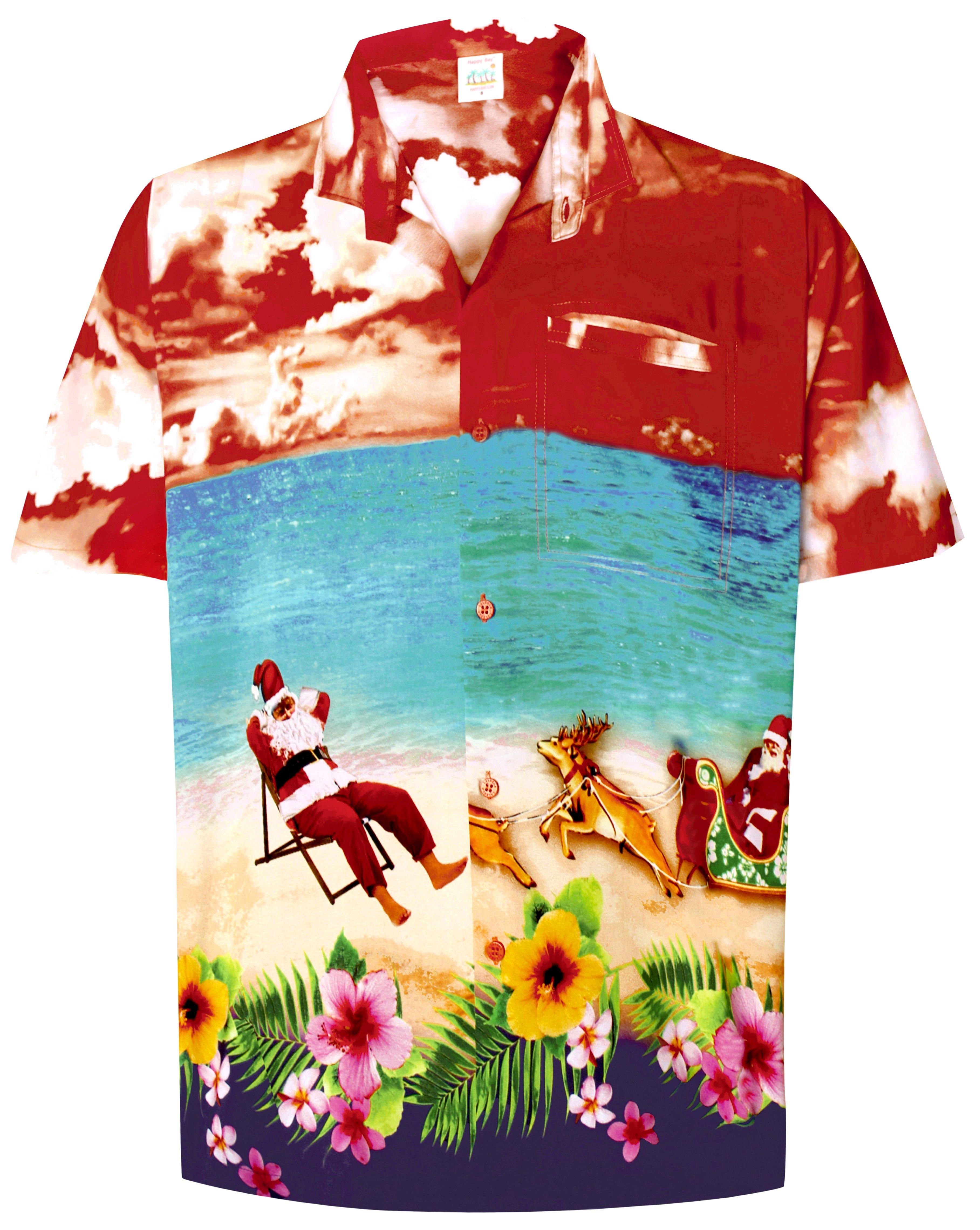 2840099a LA LEELA Men's Casual Beach hawaiian Shirt Aloha Christmas Santa front Pocket  Short sleeve Orange_W586