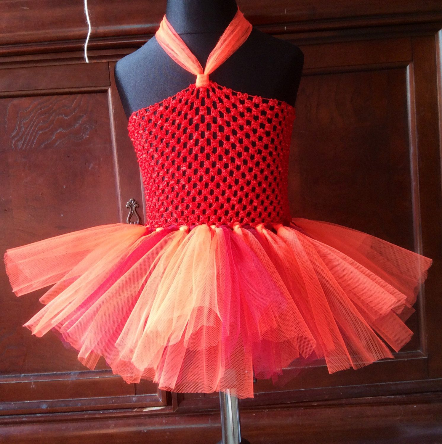 Handmade Fairy Princess Red And Orange Fire Element Party Dress Age ...