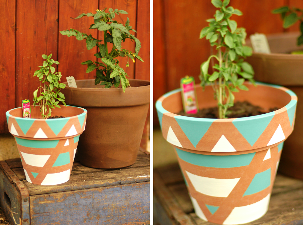 Painted pots tape a design with painters tape and paint