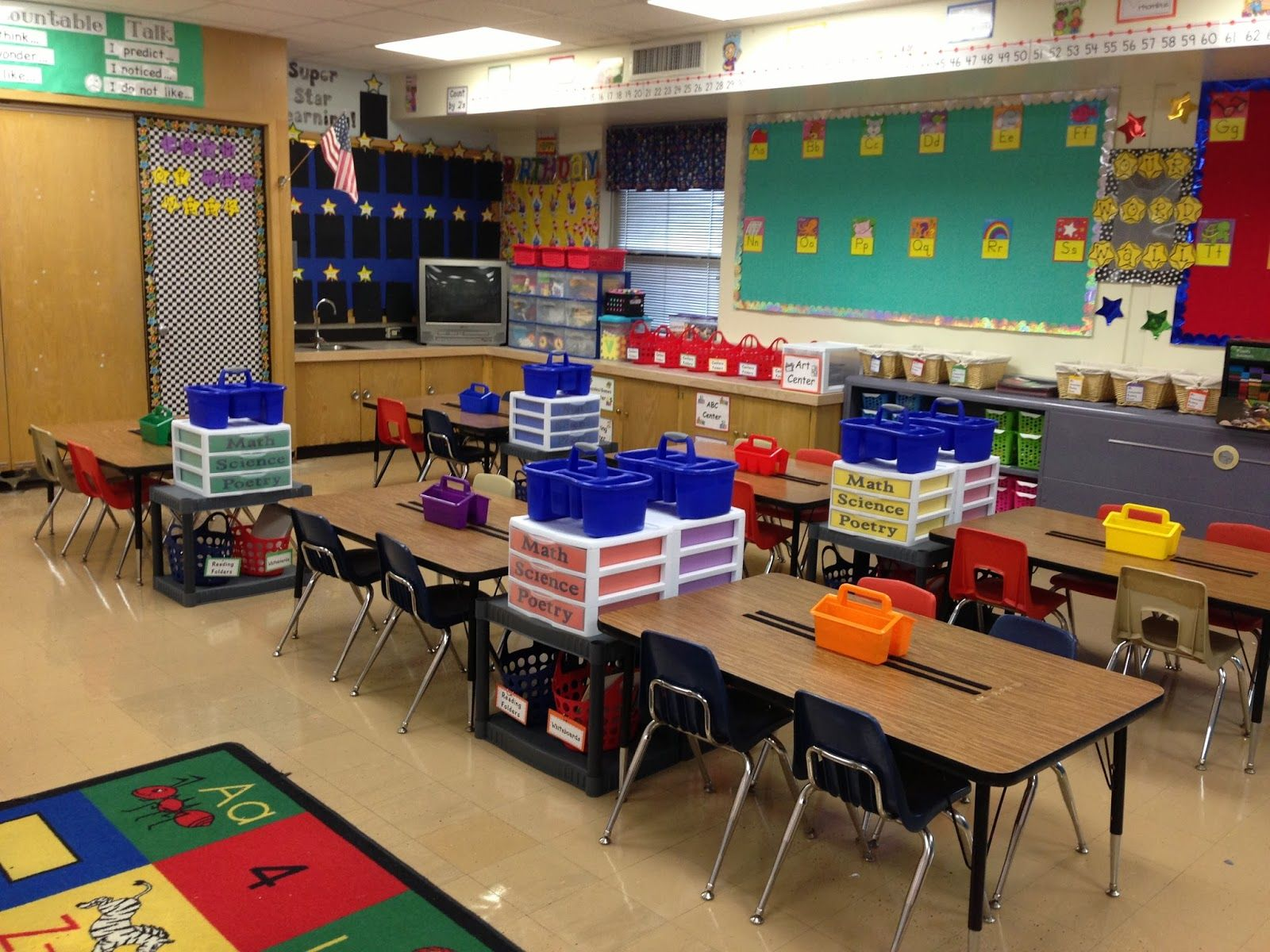 Classroom Organization Ideas Kindergarten : Love the shelves between desks she took a shelf