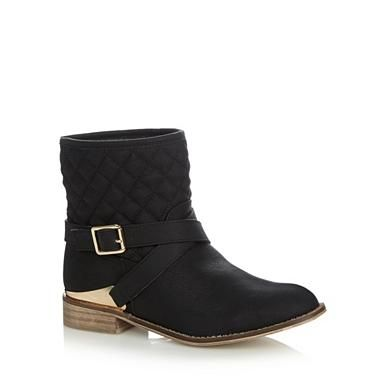 Black quilted metal trim buckled ankle boots