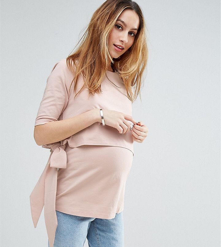 $32 | ASOS Maternity - Nursing ASOS Maternity NURSING Tie Side T-Shirt | maternity fashion | maternity clothes | maternity top | maternity shirt | nursing top | nursing shirt | #ad