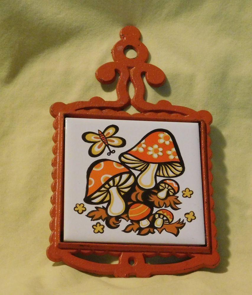 Vintage 1970 S Orange Mushroom Cast Iron Ceramic Tile Trivet
