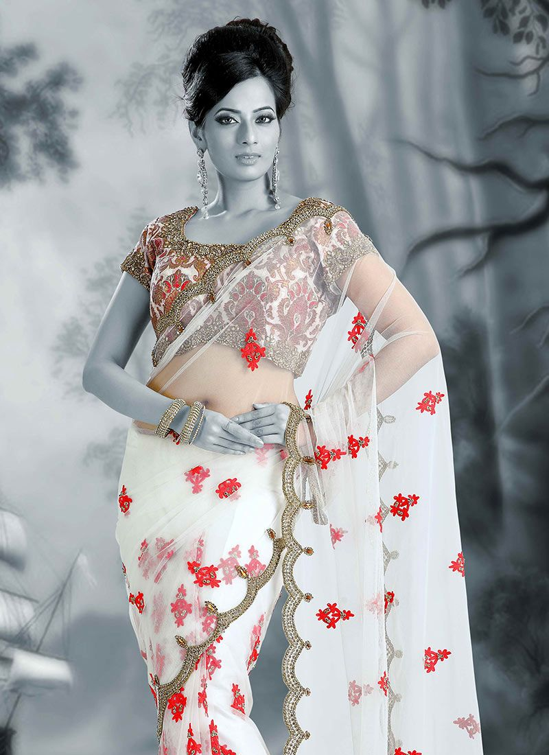 embroidrey saree for girls collection things to wear pinterest