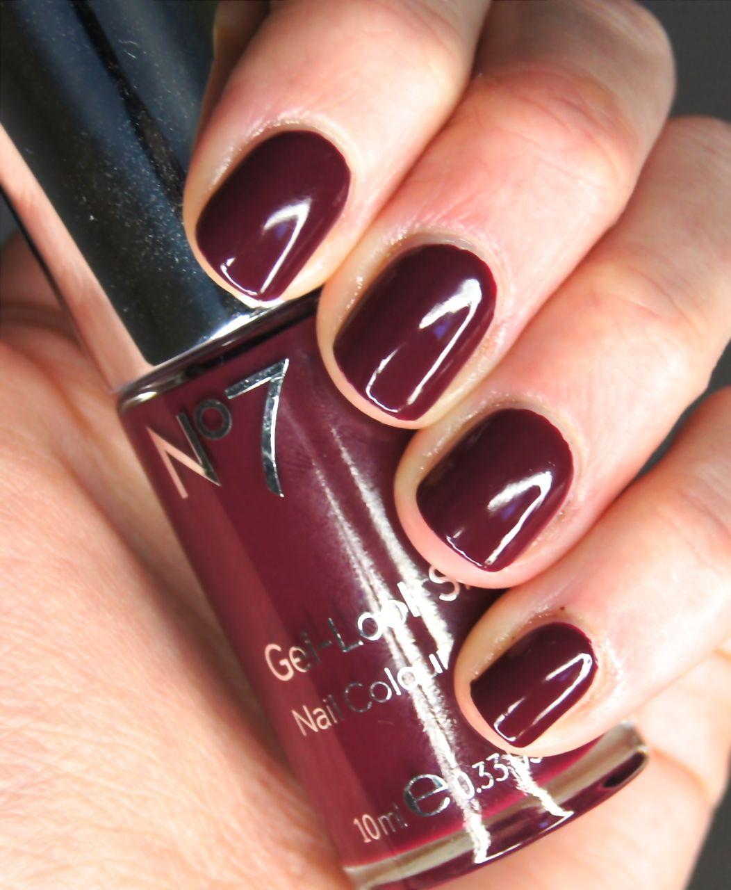 No7 Gel-Look Shine Nail Colour deep wine | Nails | Pinterest
