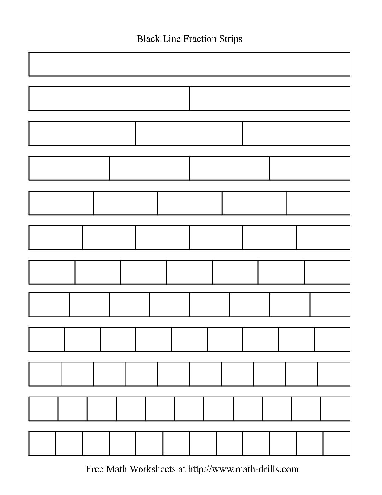 The Blackline Fraction Strips Unlabeled Math Worksheet