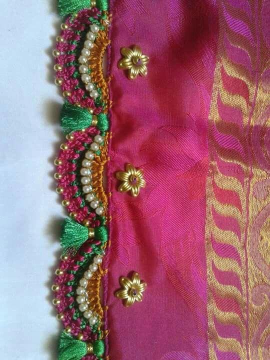 Crochet Lace Patterns For Sarees : Beautiful crochet work... Blouse tassels, Saree Tassels ...