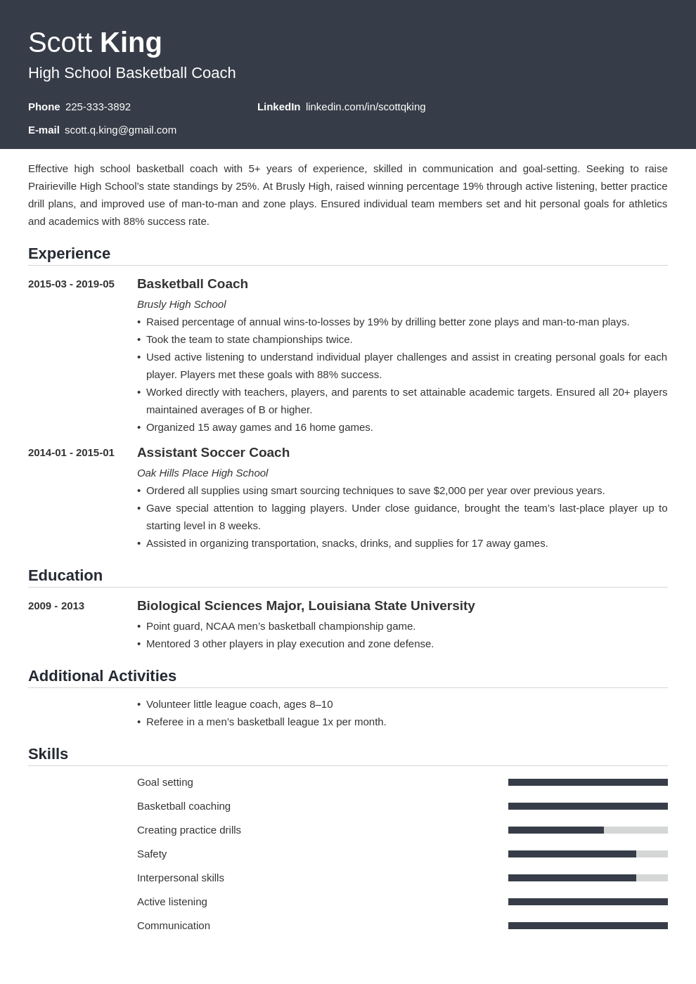 coaching resume example template influx in 2020 School