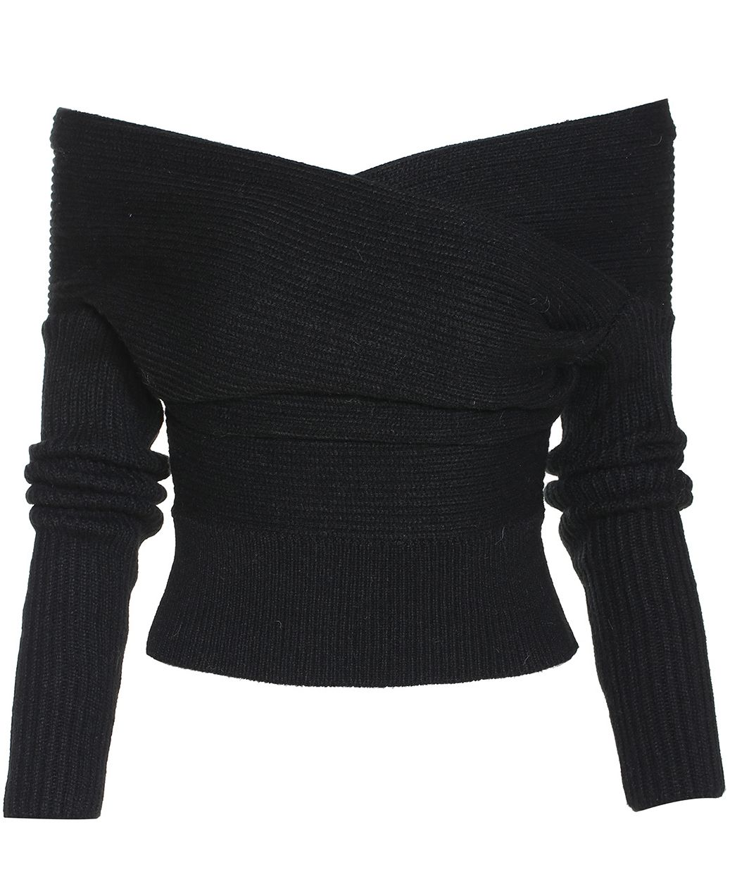 f36737257 Boat Neck Wrap Front Black Sweater