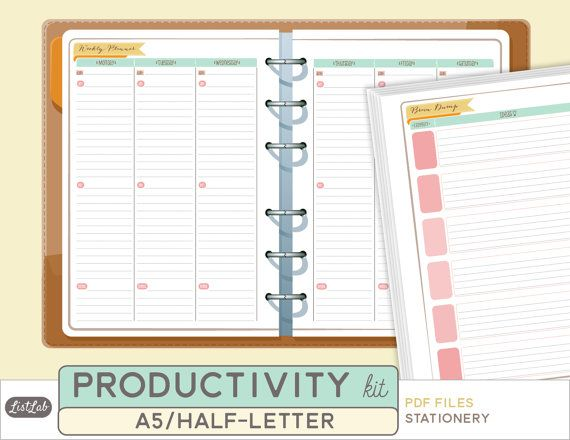 A5 PRODUCTIVITY Planner KIT  - Printable A5 Planner Inserts - Stationery Theme - 30 sheets