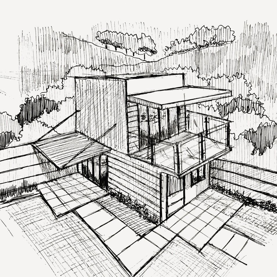 Two Storey House Sketching Free Hand Perspective Drawing Architecture Perspective Art Perspective Sketch
