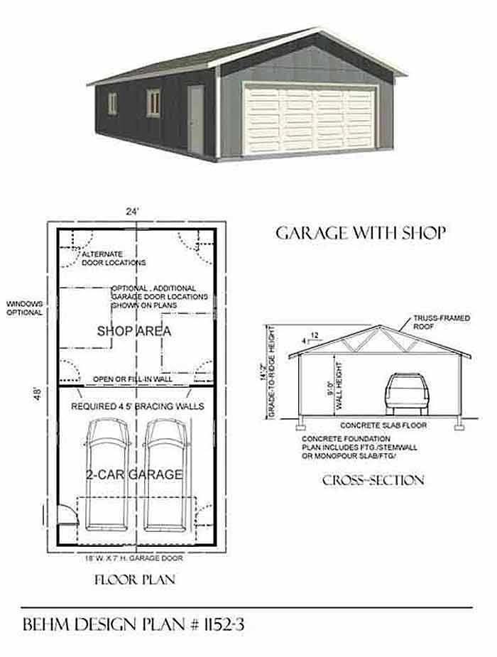 11523 24 x 48 – Double Garage Plans Free
