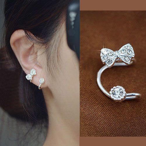 bow and rhinestone ear cuff silver single no piercing